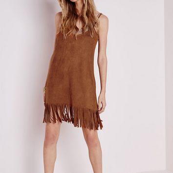 Suede Strap Dress With Fringed Hem