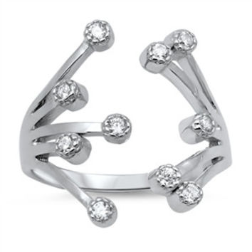 925 Sterling Silver CZ Exotic Flower Pattern Ring 18MM