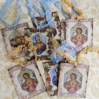 Religious Gift Tags  Virgin Mary Child Jesus Tags  Sacred Heart Immaculate Heart Christian Gift Tags  Set 8