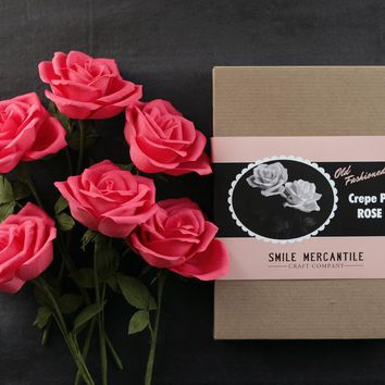 Crepe Paper Rose Kit - Makes 6 Old Fashioned Crepe Paper Flowers - Watermelon Pink