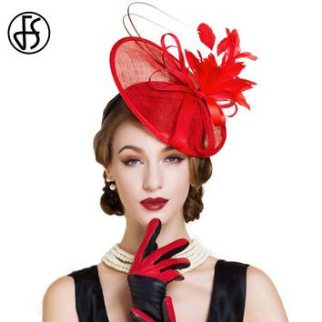 FS Red Fascinator For Women Elegant Aristocratic Lady Linen Hats Fashion Party Church Wedding Dress Feather Pillbox Hat Women