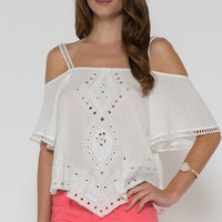 Olivia Embroidered Off Shoulder Top - White