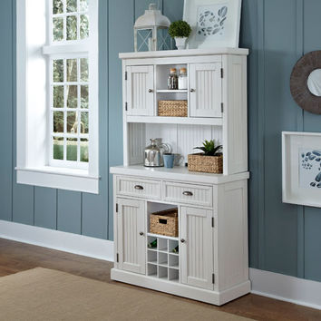 Home Styles Furniture 5022-617 Nantucket Distressed White 73-Inch Buffet and Hutch