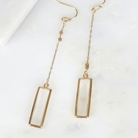 Rectangle Crystal Drop Earrings Gold