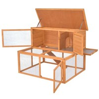 Gymax Wooden Rabbit Hutch Chicken Coop Bunny Small Animals Cage House - Walmart.com