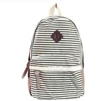 Generic Fashion Women Ladies Girls Cute Backpack Canvas Stripe Leisure Travel Book Bag (grey)