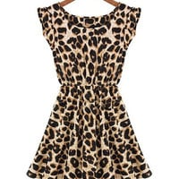 Leopard Print Elastic Waist Sleeveless Dress