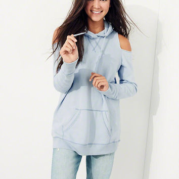 Girls Garment-Dyed Cold Shoulder Oversized Hoodie | Girls New Arrivals | HollisterCo.com