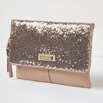 Rose gold sequin fold over clutch handbag - clutch bags - bags / purses - women