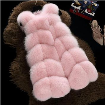 2017 New fashion faux fur coat warm Black white pink S-3XL Large size faux fur vest winter jacket women high quality coat