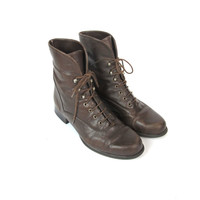 90s Brown Leather Ankle Boots Leather Lace Up Boots Cuffed Ankle Boots Vintage Hiking Boots Hipster Grunge Fall Boots Womens Size 36 6.5