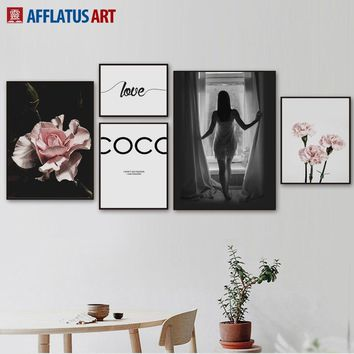 Love Girl Pink Carnation Landscape Nordic Posters And Prints Wall Art Canvas Painting Wall Pictures For Living Room Decor