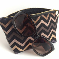 Small Black Makeup Bag, Chevron Makeup Bag, Black and Gold Pouch, Small Makeup Pouch