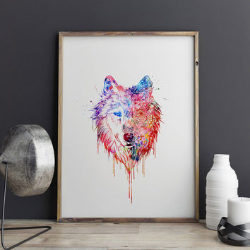 Wolf Watercolor Art Paint Home Decor Gift Wall Decorative Art Print