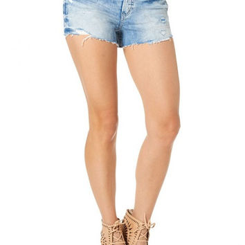 Silver Aiko High Rise Shorts - Light Wash