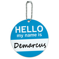 Demarcus Hello My Name Is Round ID Card Luggage Tag
