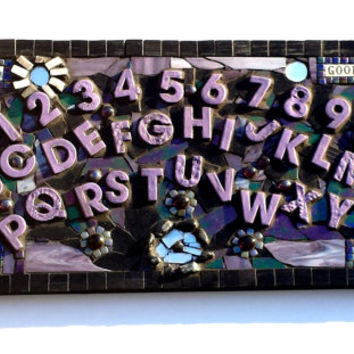 Spirit Board Mosaic Artwork. Unique Onyx Paranormal Ghost Investigator Message Art. Spooky Goth Home Decor.