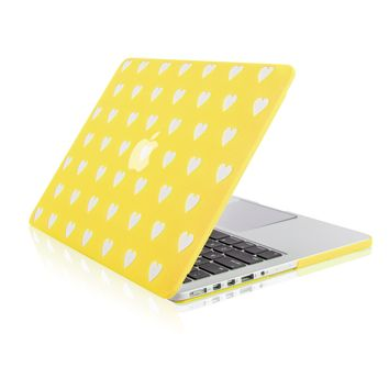 """Yellow Heart Shape Design Ultra Slim Light Weight  Hard Case Cover for Apple MacBook Pro 13.3"""" with Retina Display Model: A1425 and A1502"""
