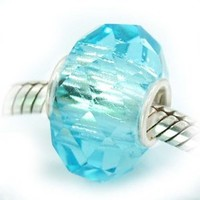 Pro Jewelry Silver Faceted Murano Glass Charm Bead for Snake Chain Charm Bracelets (Aquamarine)