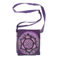 Eternal Knot & Lotus Shoulder Bag