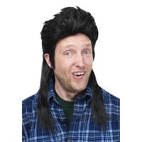 Mullet Wig Hillbilly Redneck White Trash Joe Dirt Funny Adult Halloween Costume