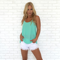 Three String Blouse In Pop Mint