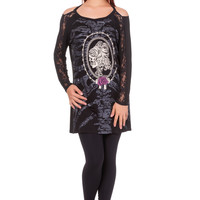 Gothic Skeleton Ribcage with Cameo Skull Lady Lace Insert LS Shirt Top