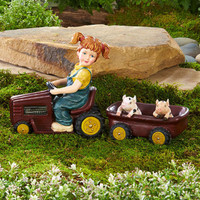 2 Pc Tractor & Cart Statue Boy with Dogs Lawn Garden Outdoor Yard Art Decor