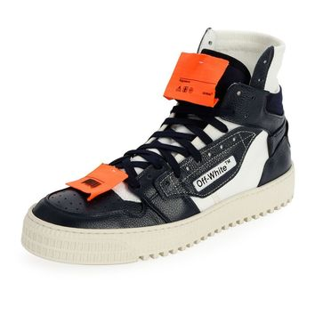 Navy Hi-Top and Orange Tag Sneakers by OFF-WHITE