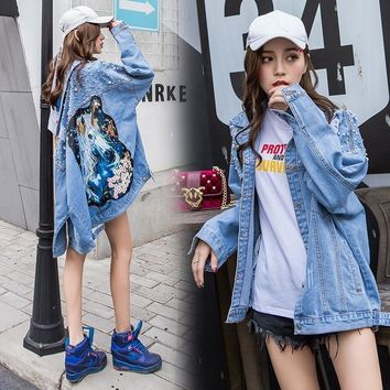 Trendy TongLord Women Coat 2018 Loose Light Blue Beading Pearls Ripped Holes Denim Jackets New Novelty Sequins Cartoon Unicorn Clothing AT_94_13