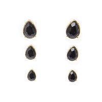 Noir Black Stud Earrings