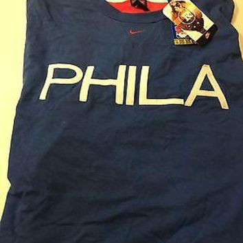 "NIKE PHILADELPHIA 76ERS ""PHILA"" ADULT 4X BLUE TEE SHIRT SHIPPING"