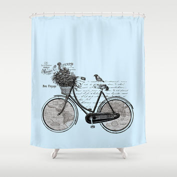Bicycle Shower Curtain - World map, French -  Unique Antique Look Map, Travel Inspired  Home Decor, blue and black - Bathroom