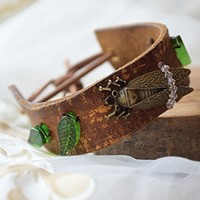 Bohemian leather cuff bracelet Cicada woman jewelry Boho Bracelet Insect Boho Chic rustic bracelet Recycled belt upcycled Nature lover gift woman gift woodland teen girl gift Valentine gift
