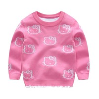 Knitted Baby Clothes Cartoon hello kitty Baby Girl Sweater Autumn Winter Girl Sweater Casual Sweater Baby Girl