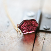 Geometric Pendant Necklace, Rustic Garnet Necklace, OOAK Jewelry, Red Pendant Necklace, January Birthstone, Raw Crystal Jewelry