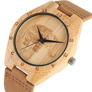 Unisex Bamboo Wood Quartz Watch Elephant Engraving Dial With Brown Genuine Leather Band Wooden Case Wristwatches Women Men