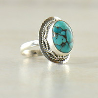 Blue Copper Turquoise Sterling Silver Statement Ring