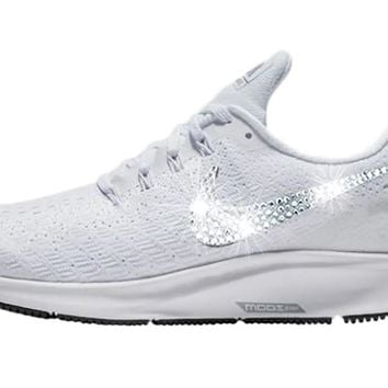Women's Nike Air Zoom Pegasus 35 + Crystals - White/Black/Pure Platinum/Wolf Grey