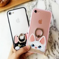 Lovely Poppy Cat pattern Soft edge Plastic + Ring support back cover case for iphone 6 6s plus 7 plus phone cases