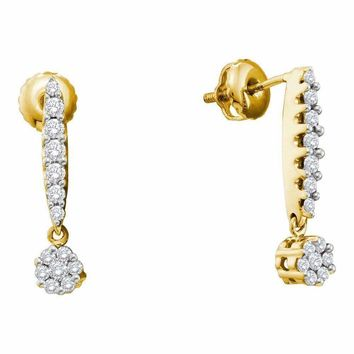 14kt Yellow Gold Womens Round Diamond Flower Cluster Screwback Dangle Earrings 1-2 Cttw