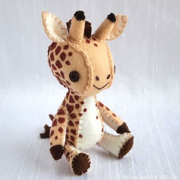 Rafi the Giraffe Wool Felt Plush Art Doll MADE by nonesuchgarden