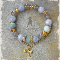 Mixed Gemstone Bohemian Glam Gold Aqua Blue Green Bracelet Dragonfly Charm Aquamarine Agate Amazonite Czech Crystal Rhinestone Healing Love