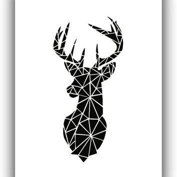 Deer Geometric Black and White Print Art, Printable File, Geometric Pattern Black and Whith - Modern Wall Home Decor Digital Print *110*