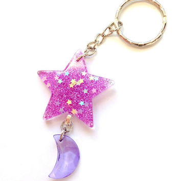 Purple Glitter Star Keychain with Moon Charm, Magical Girl, Star Moon Keychain, Star Keyring, Kawaii Bag Charm, Mahou Kei, Resin Star Charm