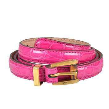 Gucci Women's Pink Croc Leather Skinny Belt