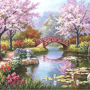 "DIY Painting by Numbers Canvas Painting Set - ""Cherry Blossom Bridge"""