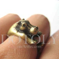 Miniature Baby Hippo Ring in Bronze Sizes 5 to 9 available | dotoly - Jewelry on ArtFire