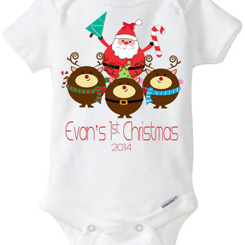 Baby's 1st Christmas Onesuit Bodysuit Shirt - Santa Claus & 3 Reindeer / Baby Boy / Baby Girl / Personalized Customized with Child's Name