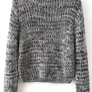 Grey Knitted Cropped Sweater